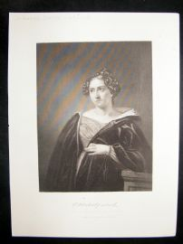 Catherine Maria Sedgwick 1873 Antique Portrait Print